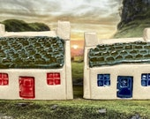 Bothy Brittany Cottage Style. PennyPottery Original 1220C Fired Ceramic Miniature. Mini House Collectable. 2 Colours. Handmade by Penny