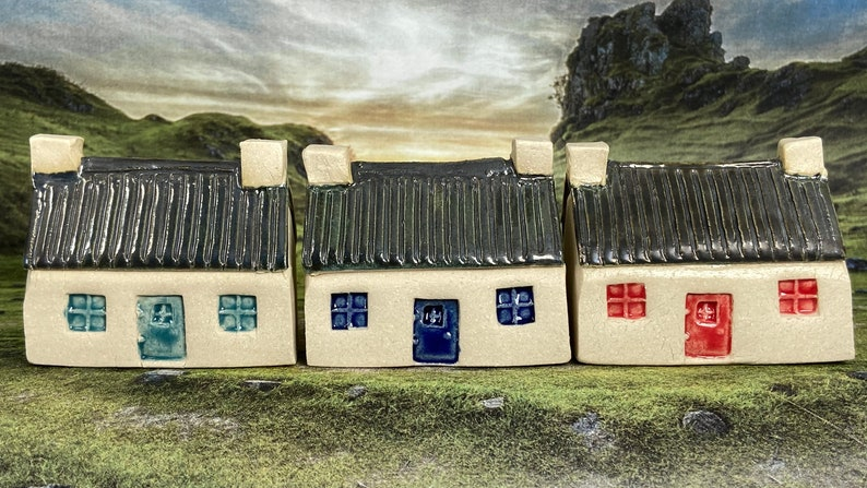 Bothy Double Chimney Corrugated Tin Roof. PennyPottery image 0