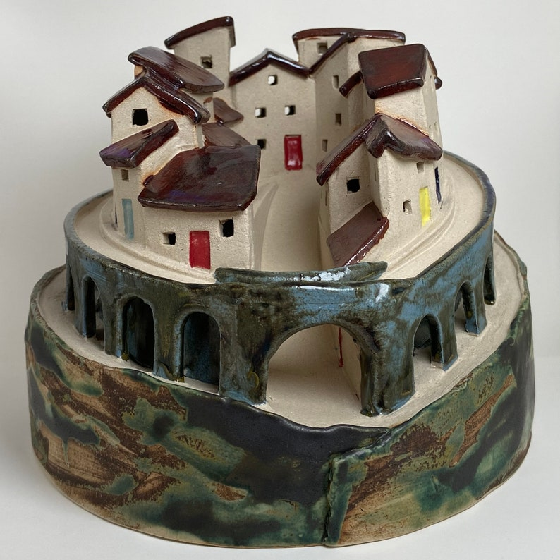 Mediterranean Walled Village. Hand crafted PennyPottery image 0