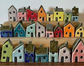 Miniature Ceramic House - Various Wall Glaze Colours - Unique & Handmade by Penny.