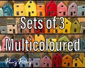 Sets of 3 Miniature Ceramic Houses & 1 Shed. Beautiful Rainbow Colour Selections of Cute Mini Pottery Homes . Unique and Handmade by Penny