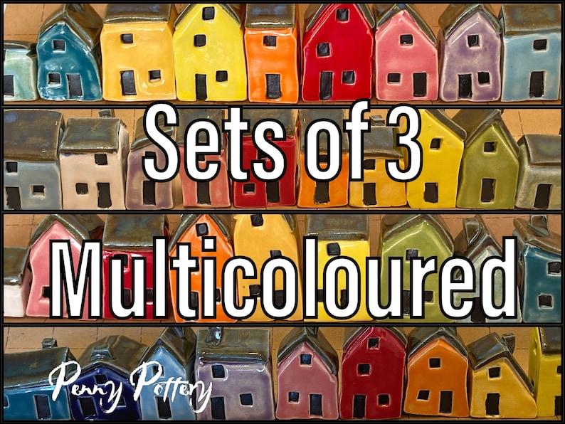 Sets of 3 Miniature Ceramic Houses & 1 Shed. Beautiful Rainbow image 0