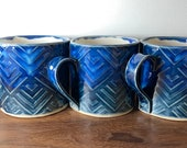 Ceramic Mugs Geometric Storm Pattern Glaze for Coffee & Tea Handmade by Penny