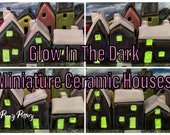 Sets of 3 Miniature Ceramic Houses. Winter Glow in the Dark. Selections of Joyful Little Pottery Homes. Unique + Handmade by Penny
