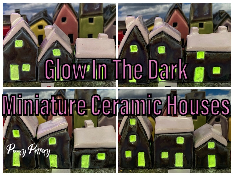 Sets of 3 Miniature Ceramic Houses. Winter Glow in the Dark. image 1