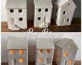 Handmade Modern Ceramic House Tealight Candle Holder in White Gloss Glaze, Mantel Ornament, Easter, Wedding, House Moving Gift & Night Light