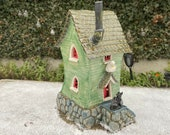 Fantasy Beach Cottage - Featuring 2 Seagulls, a Cat, a Snail & a Mouse - 26cm tall. Can be internally lit. Unique One Off Handmade by Penny