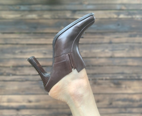 1990s Brown High Heeled Mules - image 4