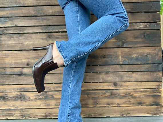 1990s Brown High Heeled Mules - image 1