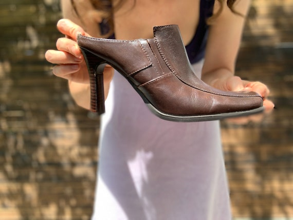 1990s Brown High Heeled Mules - image 2