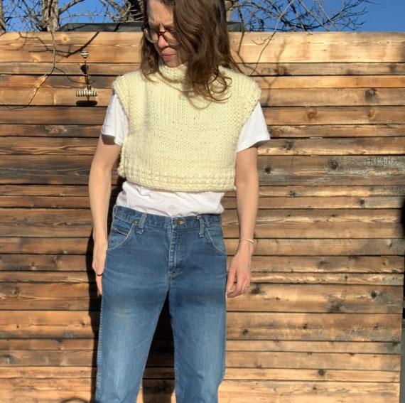 Cream sweater vest/bib/dickie