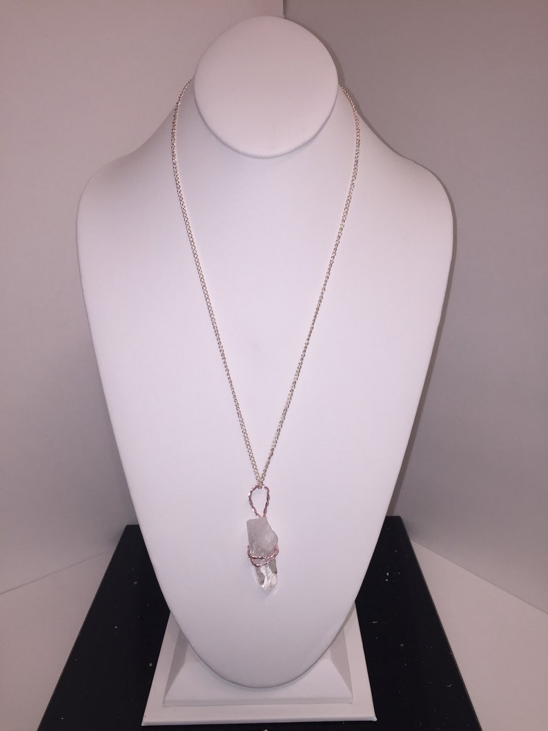 Silver Chain Necklace. Light Pink Aluminum Wired Wrapped Quartz Crystal Pendant