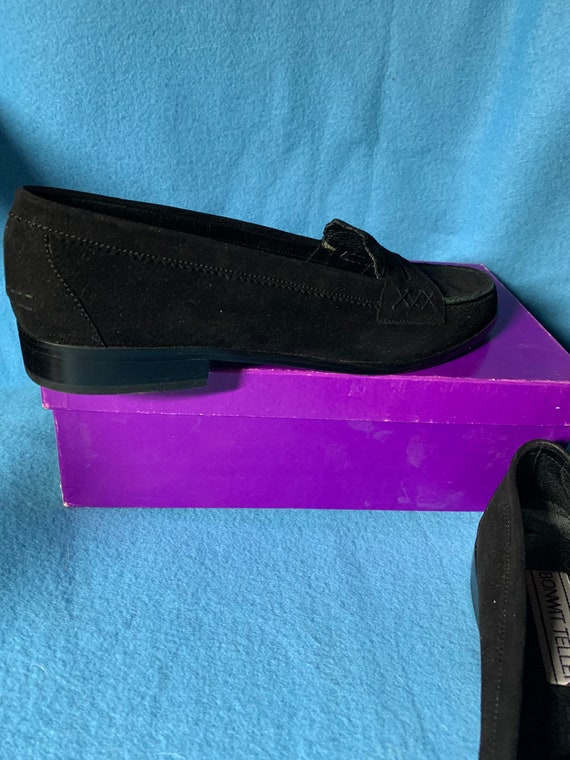 Bonwit Teller Penny Black Suede Loafers - image 3