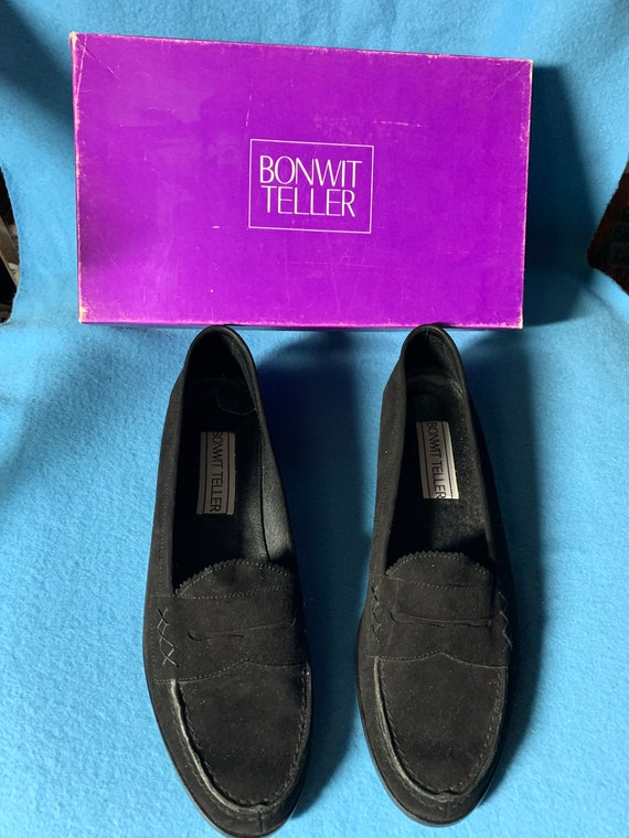 Bonwit Teller Penny Black Suede Loafers