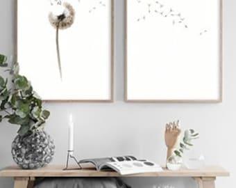 Printable art prints beige brown home decor Set of 2 dandelion watercolor painting digital prints Nursery bedroom Wall Print