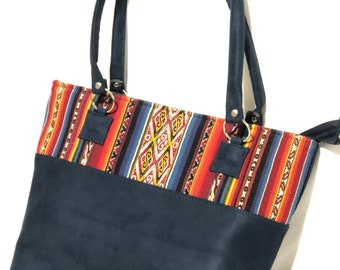 Black Leather Peruvian Boho Backpack,Peru Andes,handmade,Bohemian purse,Tribal leather bag,black leather purse,leather handbag,boho leather