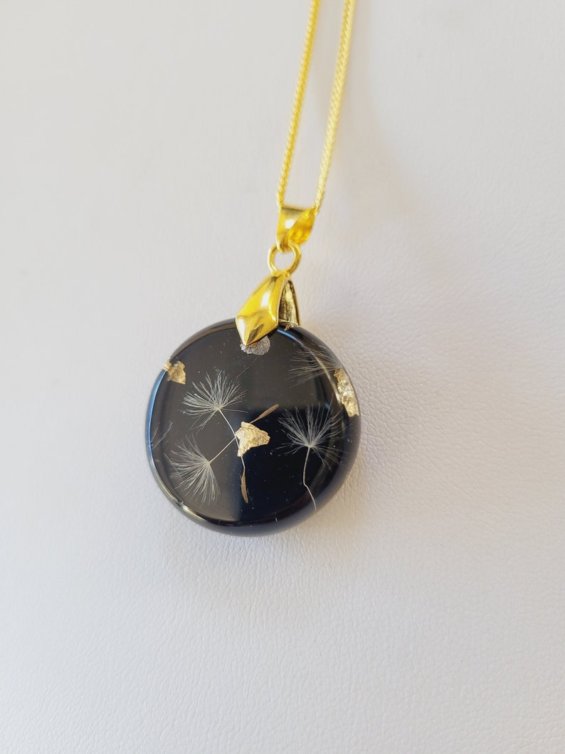 Dandelion Wish Necklace with Gold Flakes Real Flower Pendant Dandelion Jewelry with real Dandelion Seeds