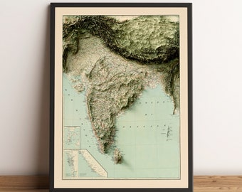 1800s Hindustan Vintage Style Print Old India Map Poster 3 Color Options