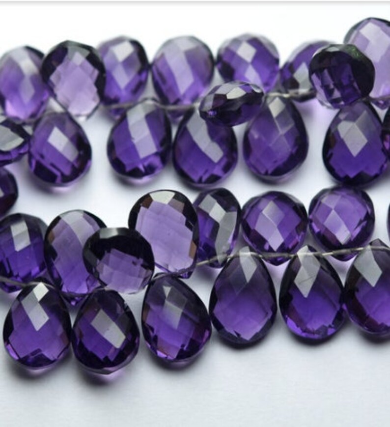 10 Pcs Amethyst Quartz,14x10 mm Pear shape Side drilled Faceted,Briolette polished,Handmade Gemstones wire wrapping For jewellery making