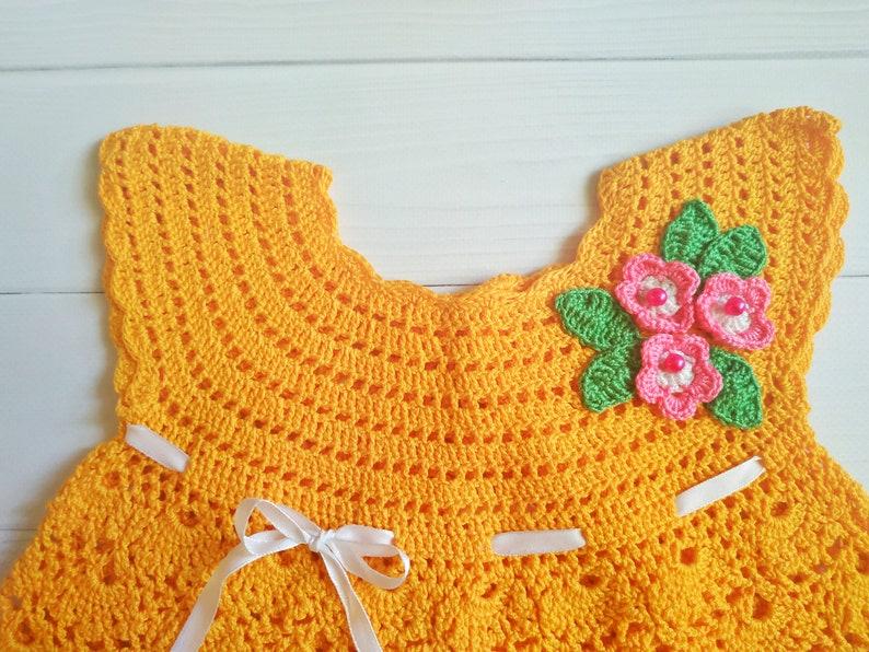 Summer yellow dress for baby girl. Crochet cotton dress for girl 1-1,5 years
