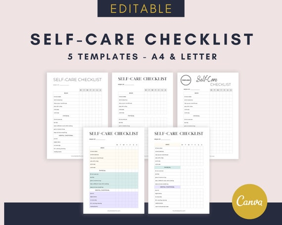 Editable Self-Care Checklist Canva Planner Editable