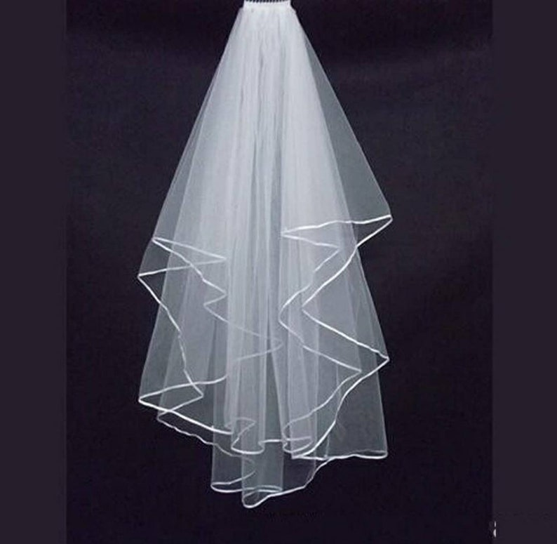 White Veil with ribbon edge detail and comb