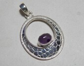 Natural 6x8mm Size Oval Shape Cabochon Amethyst Pendant, 925 Sterling Silver Pendant, AAA Quality Gemstone Silver Unique Designer Pendant.
