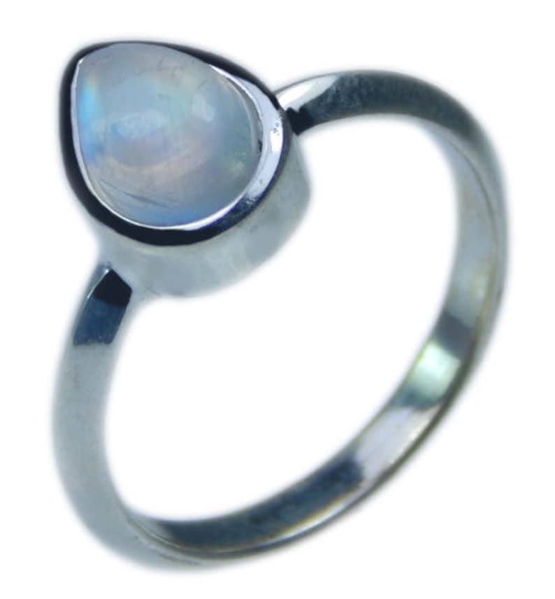 Blue Fire Rainbow Moonstone Ring Pear Rainbow Moonstone Ring 925 Sterling Silver Rainbow Moonstone Ring Sale AAA Quality Stone