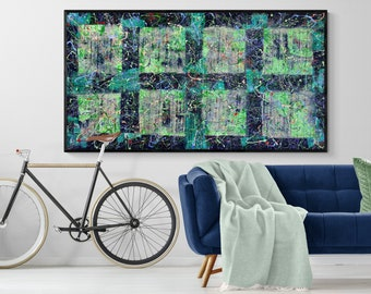 WINDOW.(004) Square Paint Large Canvas.Modern Beautiful Blue Home Decor. Abstract Acrylic Painting.