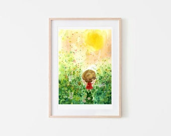 The Summer Garden / house decorate art print / digital art / garden illustration /