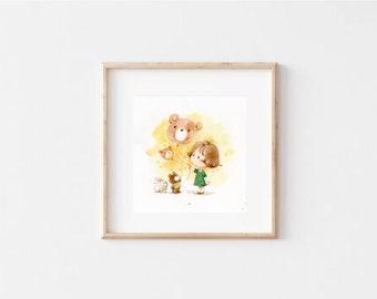 children art decor/ children illustration / warm illustration / room decor / digital print