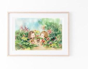 house warming illustration / watercolour landscape print/Landscape art print/Printable wall art/Digital download/Illustration/