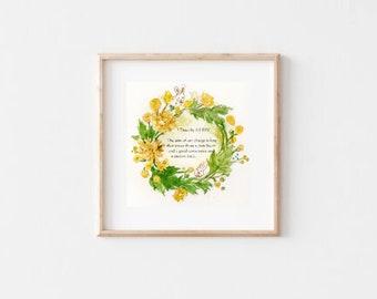 Bible verse / Watercolour flower print/flower art print/Printable wall art/Digital download/natural still life/flowers