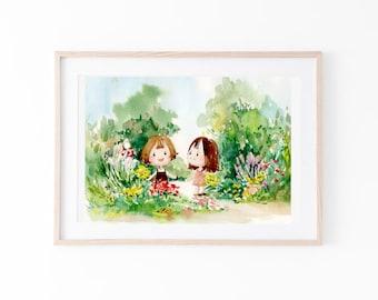 children art / watercolor / illustration / garden / home decor / digital print