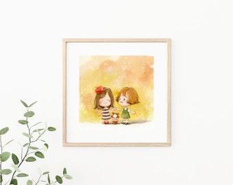 Friendship illustration/ love life art / house warming decor / digital art / wall decor /