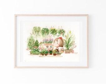 story illustration / Watercolour flower print/flower art print/Printable wall art/Digital download/natural still life/flowers