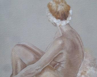 Wall Art.  Female nude.  Nude study. Original oil sketch of seated nude. 30cm x 20cm