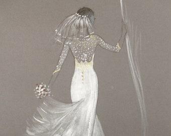 Wedding illustration fashion design no. 2.  30cm x 20cm