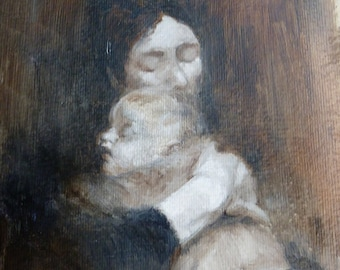Mother and child.  Oil sketch after a painting by Eugune Carriere. 30cm  20cm