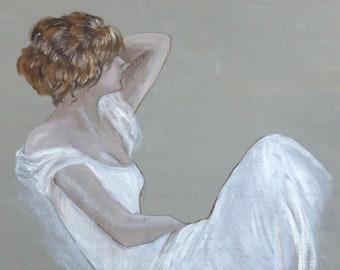 Dancer resting. White dress.  Girl relaxing. Oil on Canvas paper.  28cm x 25