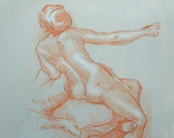 Drawing Nude Red chalk drawing after a sketch by Raphael. 30cm x 20cm