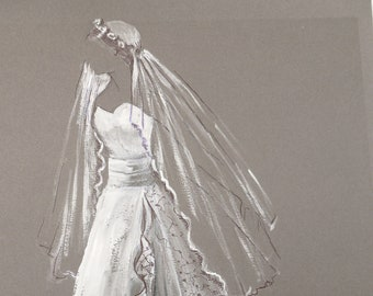 Fashion Wedding illustration in oll and pen.  30cm x 20cm