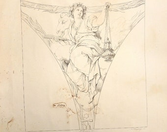 Old Antique print from a book of The Vatican's paintings.  1850.   46cm x 30cm