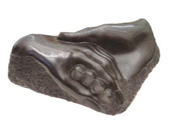 Sculpture of Hand of Friendship.  Open Edition.  11cm x 7cm x 4cm height
