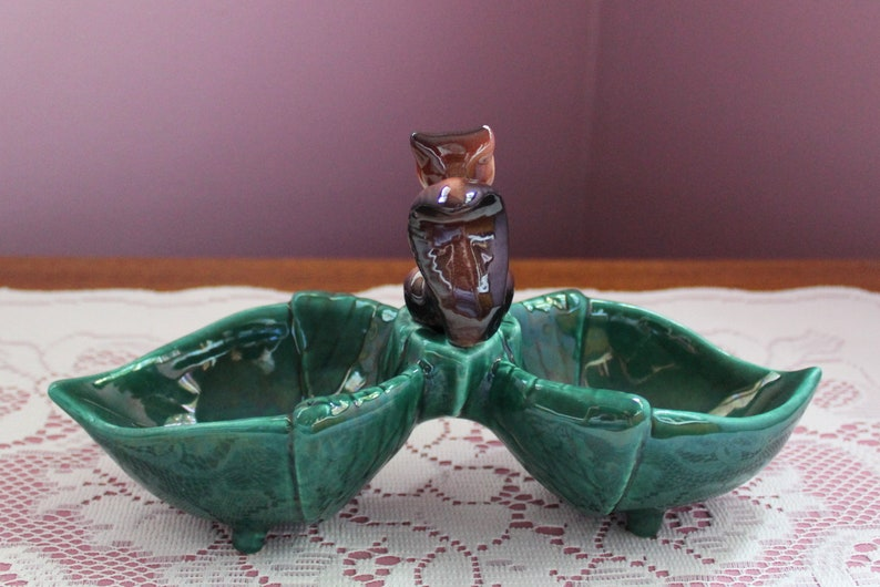Mid Century Squirrel Two Compartment Green CandyNut Dish