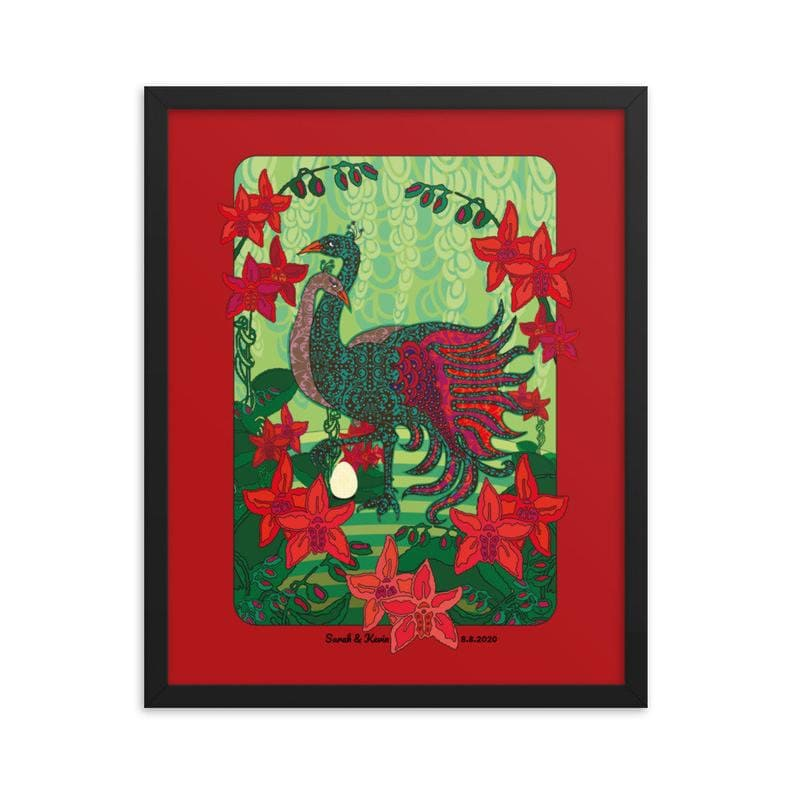 Unique Personalized Art Peacock Red Engagement Present For Couples Wedding Anniversary Gift Framed Poster