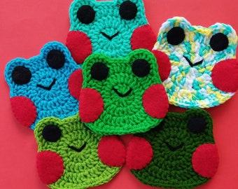 Crochet Frog Coaster, Cute Frog Coaster, Kawaii Frog Coaster, Cute Crochet Coaster, Crochet Drink Coaster
