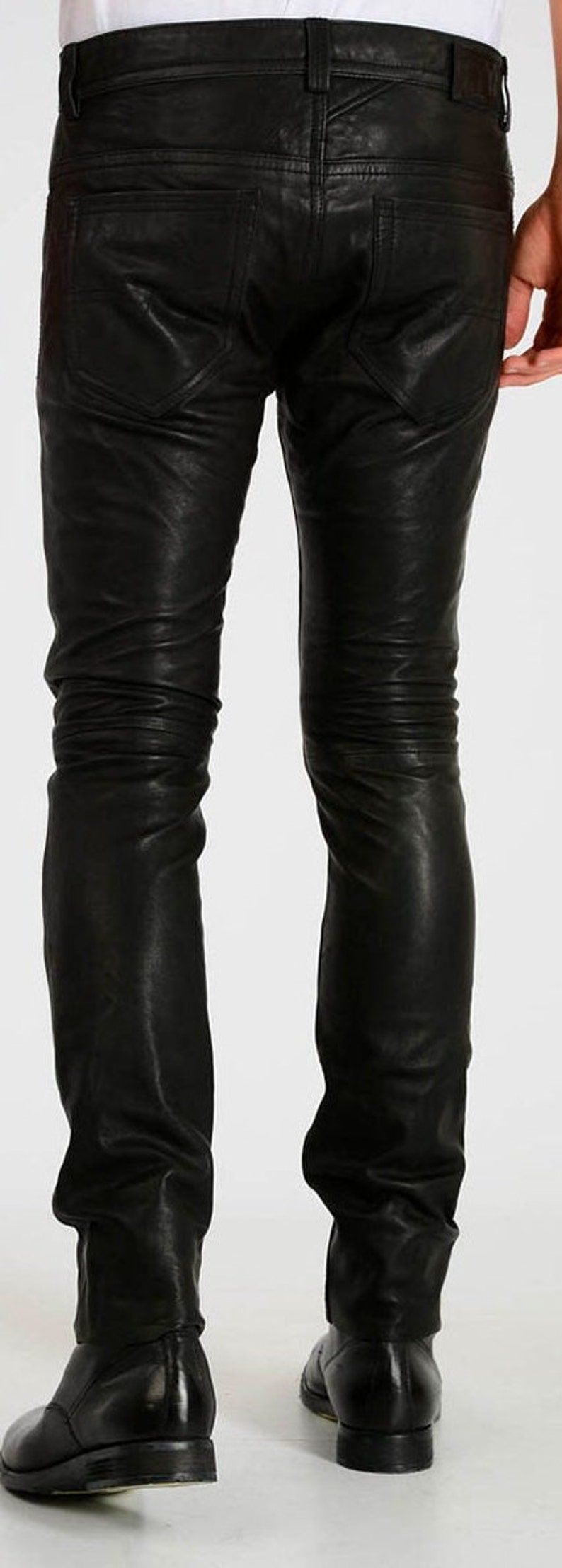 Men/'s Genuine Leather Black Trouser jeans