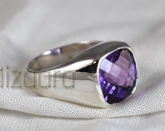 February Birthstone Ring for Him Gold Plated 925 Sterling Silver Ring Amethyst Gemstone Ring for Men/'s Designer Silver Ring for Men/'s