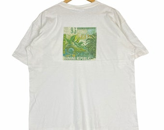Vintage 90s BANANA REPUBLIC USA Summer 1993 Big Print White Large Size Jacket Hoodie Sweatshirt Gift